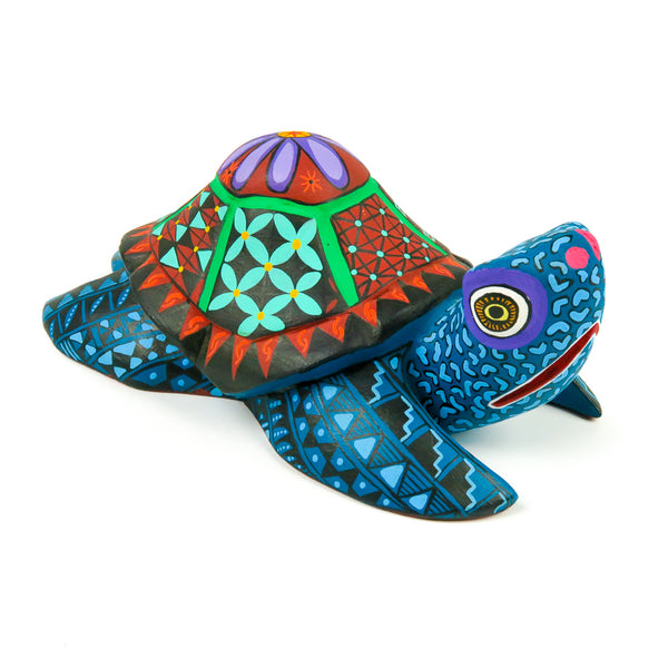 Colorful Turtle - Oaxacan Alebrije Wood Carving - VivaMexico.com