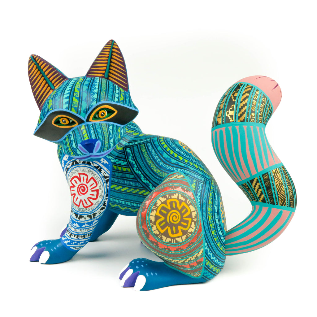 Turquoise Raccoon - Oaxacan Alebrije Wood Carving