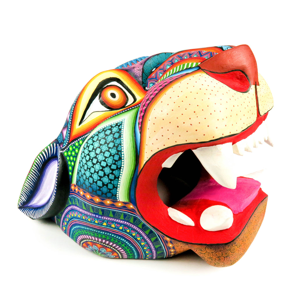 Magnificent Large Jaguar Head - Oaxacan Alebrije Wood Carving - VivaMexico.com
