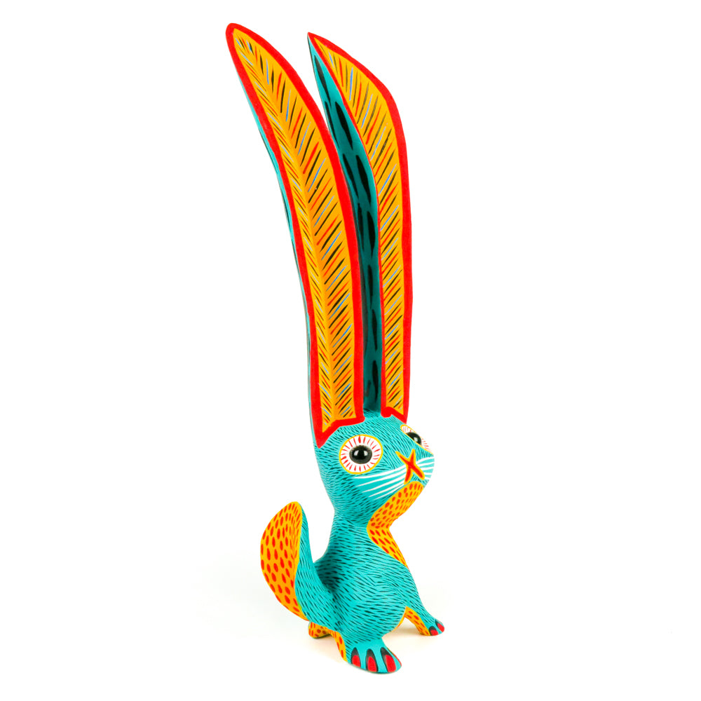 Large Turquoise Rabbit - Oaxacan Alebrije Wood Carving - VivaMexico.com