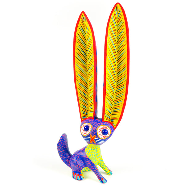 Purple Marble Eyed Rabbit - Oaxacan Alebrije Wood Carving