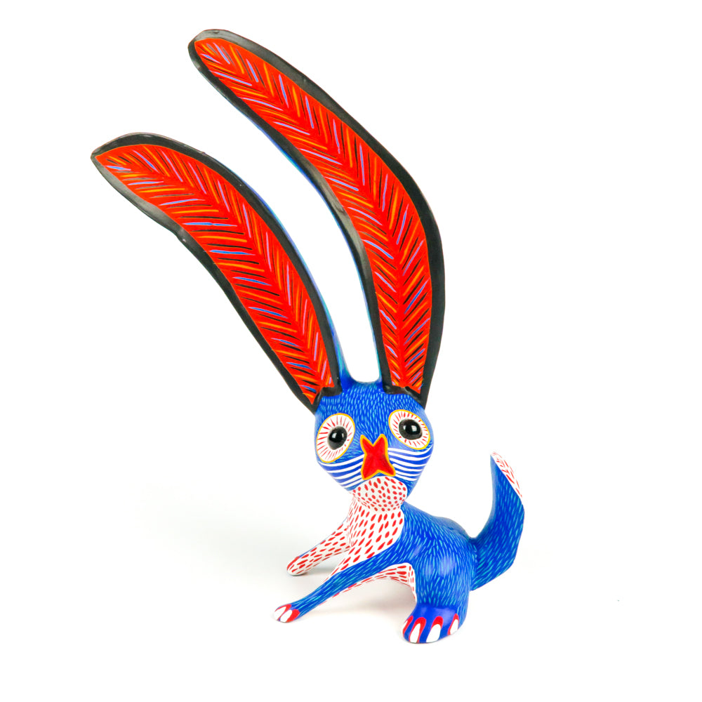 Large Blue Marble Eyed Rabbit - Oaxacan Alebrije Wood Carving - VivaMexico.com