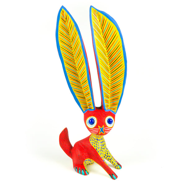 Red Marble Eyed Rabbit - Oaxacan Alebrije Wood Carving