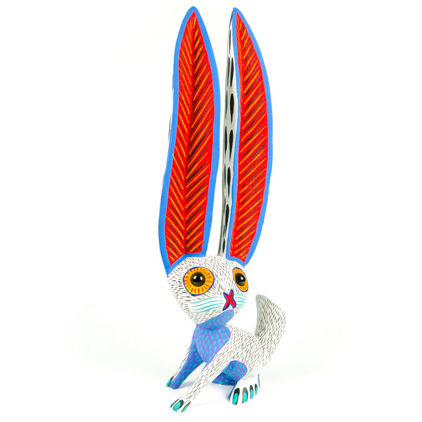 White Marble Eyed Rabbit - Oaxacan Alebrije Wood Carving