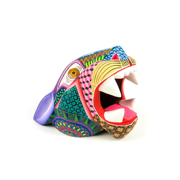 Vibrant Jaguar Head - Oaxacan Alebrije Wood Carving