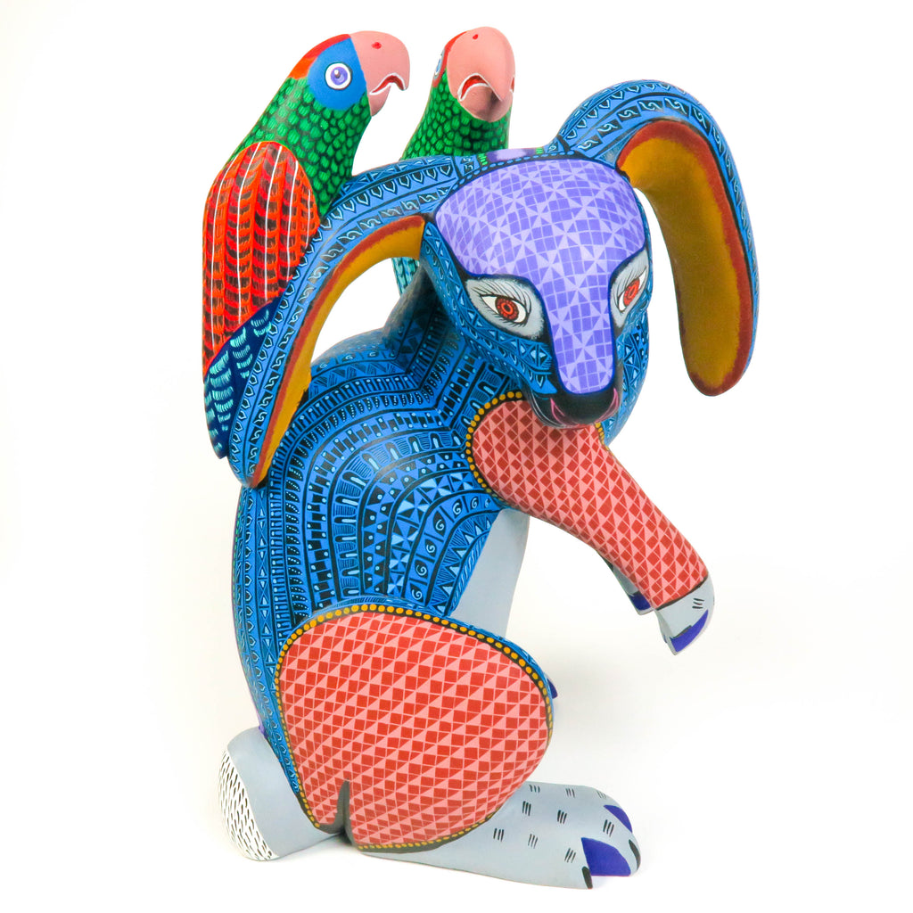 Masterpiece Rabbit With Passenger Parrots - Oaxacan Alebrije Wood Carving - VivaMexico.com