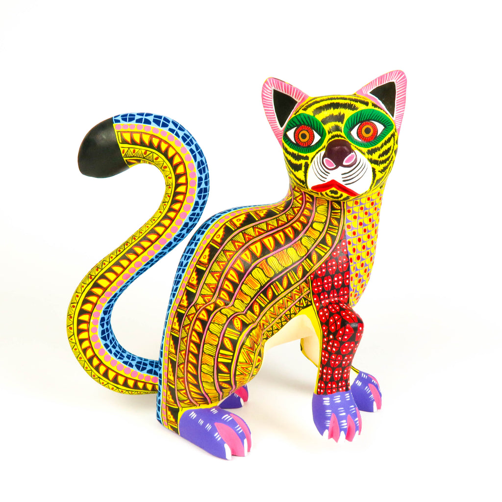 Yellow Cat - Oaxacan Alebrije Wood Carving - VivaMexico.com