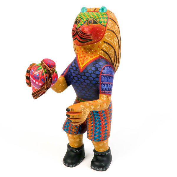 Lion With Spinning Top - Oaxacan Alebrije Wood Carving - VivaMexico.com