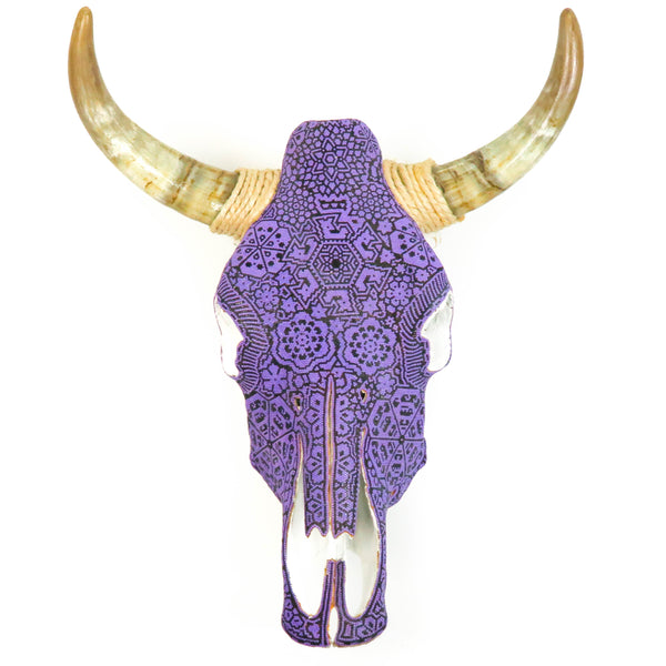 Huichol Beaded Bull Skull Wall Mount Mexican Folk Art (Purple) - VivaMexico.com