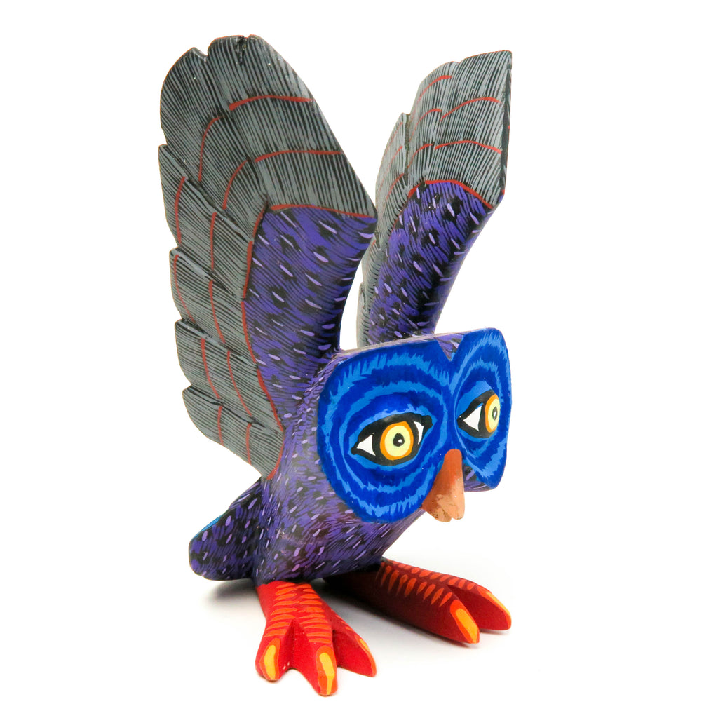 Small Owl (Blue & Gray) - Oaxacan Alebrije Wood Carving by Eleazar Morales - VivaMexico.com