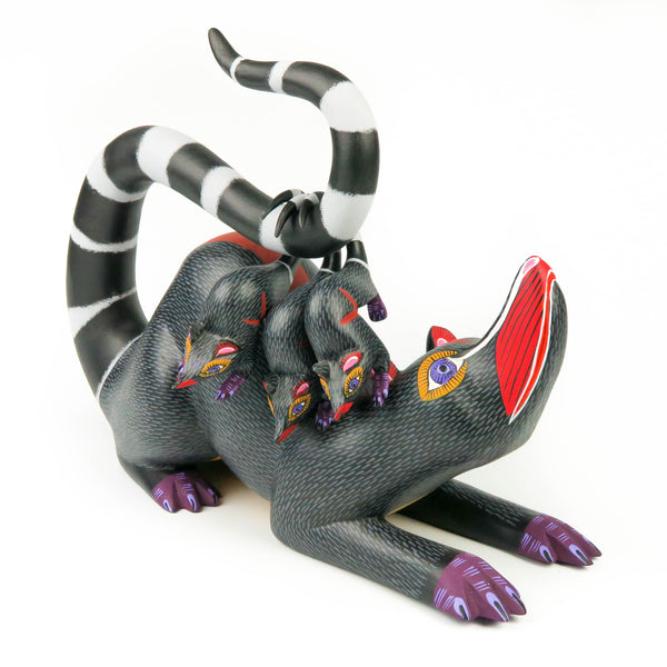 Black Opossum Family - Oaxacan Alebrije Wood Carving Mexican Folk Art Sculpture - VivaMexico.com