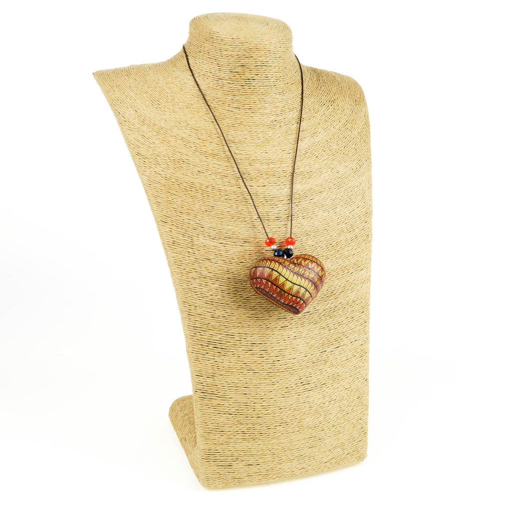 Zapotec Oaxacan Wood Carving Heart Necklace
