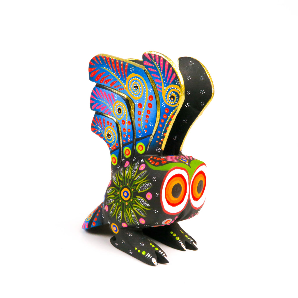 Black Owl - Oaxacan Alebrije Wood Carving Mexican Folk Art Sculpture - VivaMexico.com
