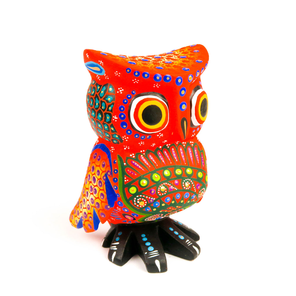 Orange Owl - Oaxacan Alebrije Wood Carving - VivaMexico.com