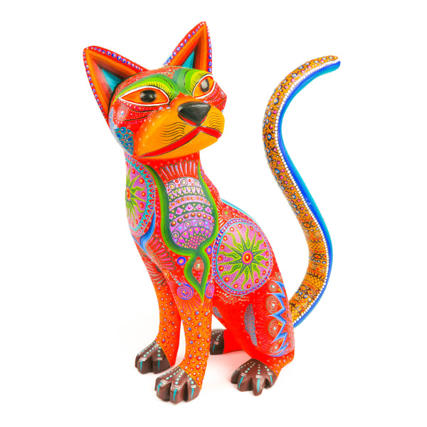 Orange Cat - Oaxacan Alebrije Wood Carving - VivaMexico.com