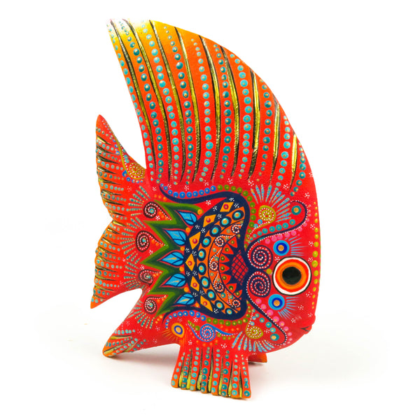 Orange Fish - Oaxacan Alebrije Wood Carving - VivaMexico.com