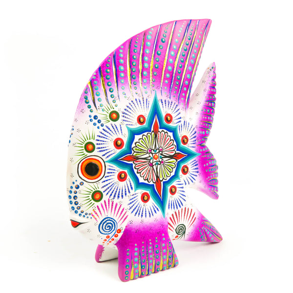 Purple & White Fish - Oaxacan Alebrije Wood Carving