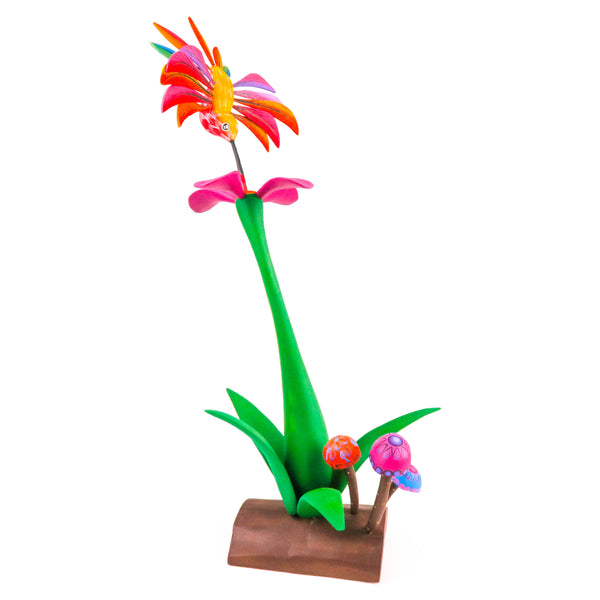 Hummingbird On Flower - Oaxacan Alebrije Wood Carving