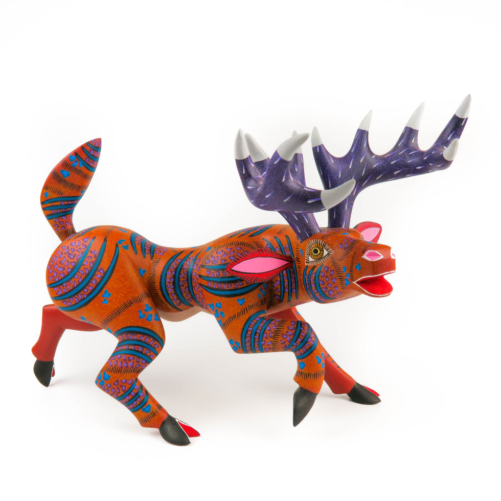Cheerful Moose - Oaxacan Alebrije Wood Carving - VivaMexico.com