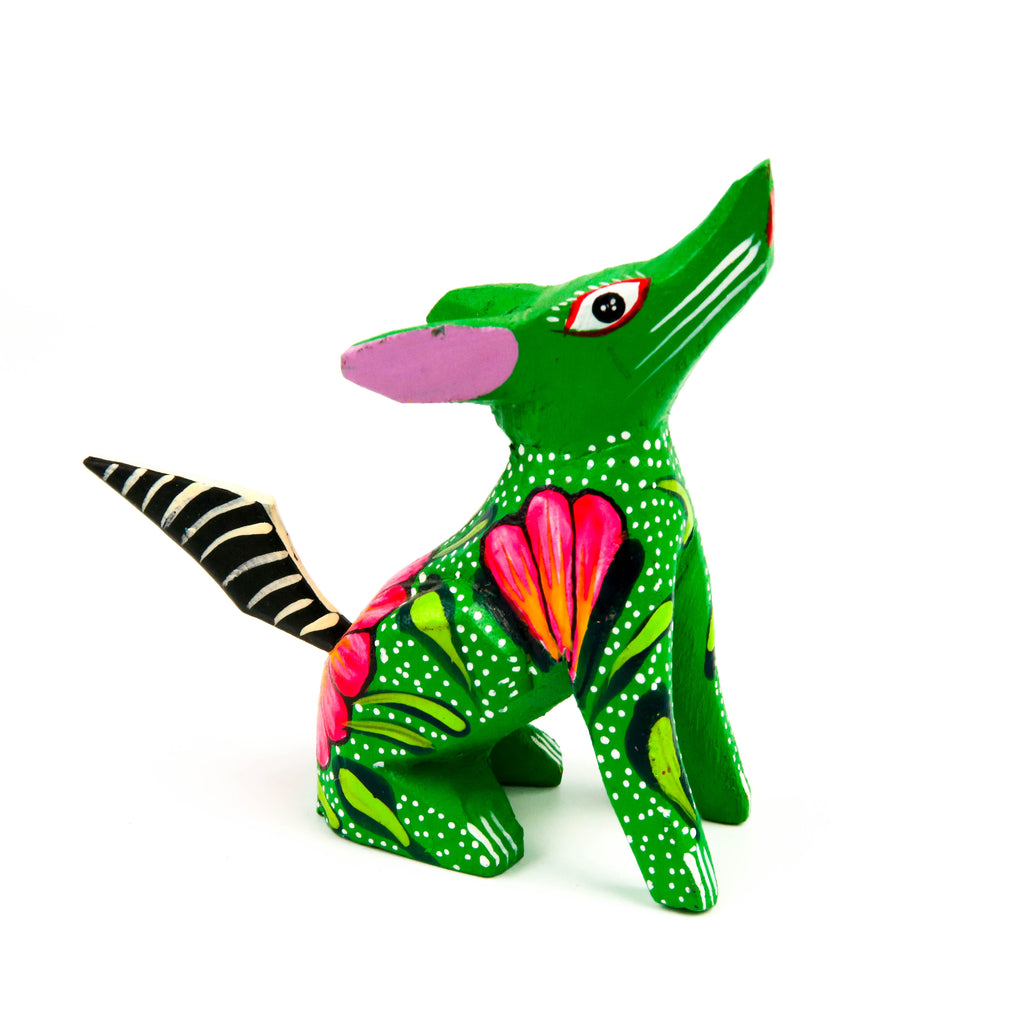 Coyote Mini Oaxacan Alebrije Wood Carving Mexican Folk Art Sculpture - VivaMexico.com