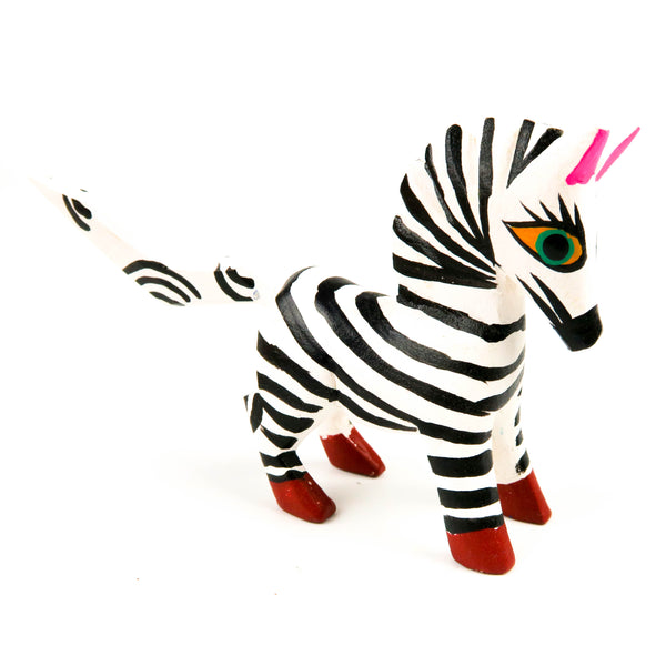 Zebra Mini Oaxacan Alebrije Wood Carving Mexican Folk Art Sculpture - VivaMexico.com