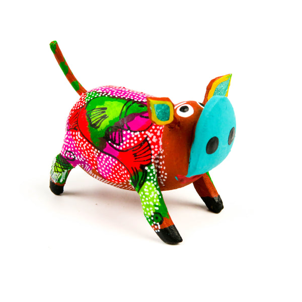 Pig Mini Oaxacan Alebrije Wood Carving Mexican Folk Art Sculpture