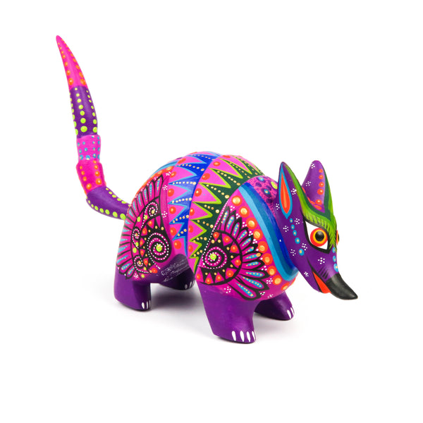 Purple Armadillo - Oaxacan Alebrije Wood Carving Mexican Folk Art Sculpture