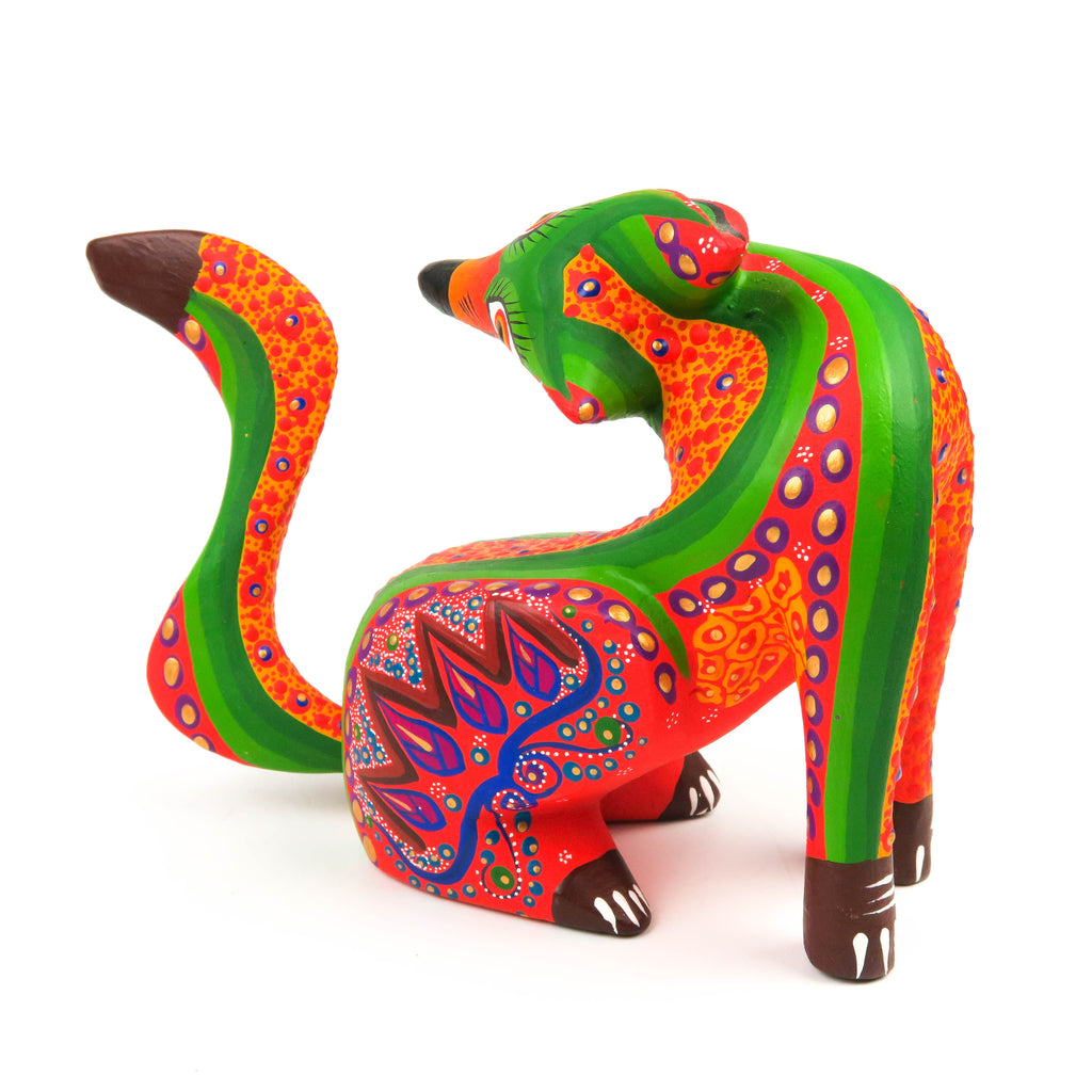 Orange Coyote - Oaxacan Alebrije Wood Carving Mexican Folk Art Sculpture - VivaMexico.com