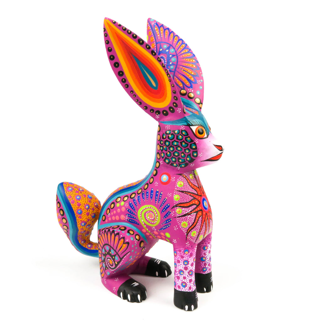 Pink Rabbit - Oaxacan Alebrije Wood Carving Mexican Folk Art Sculpture - VivaMexico.com