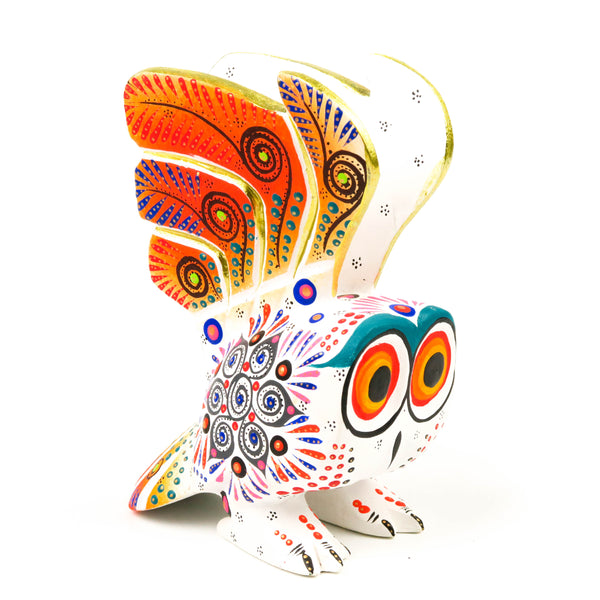 White Owl - Oaxacan Alebrije Wood Carving Mexican Folk Art Sculpture - VivaMexico.com