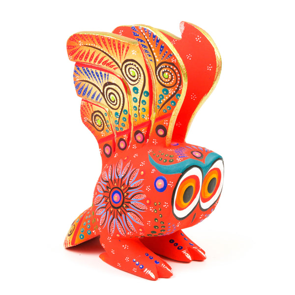 Orange Owl - Oaxacan Alebrije Wood Carving Mexican Folk Art Sculpture