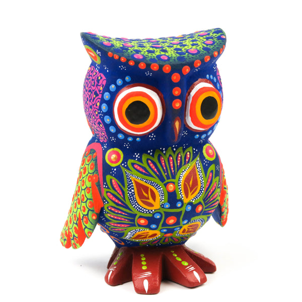 Blue Owl - Oaxacan Alebrije Wood Carving Sculpture