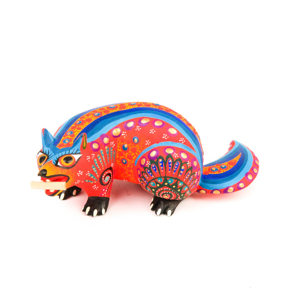 Orange Beaver - Oaxacan Alebrije Wood Carving Mexican Folk Art Sculpture