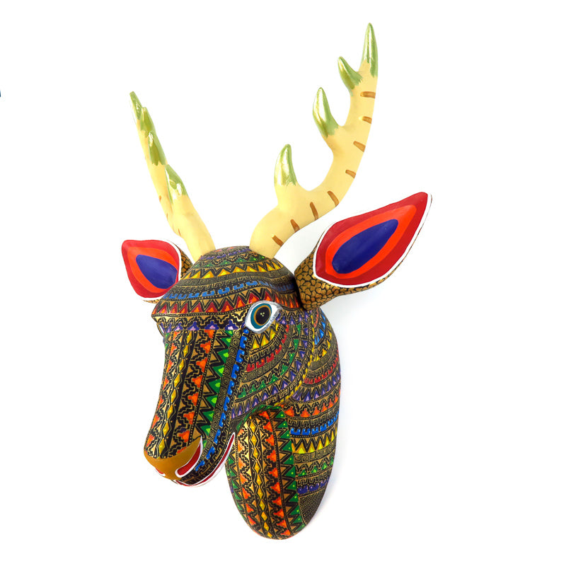 Deer Head Wall Mount - Oaxacan Alebrije Wood Carving - VivaMexico.com