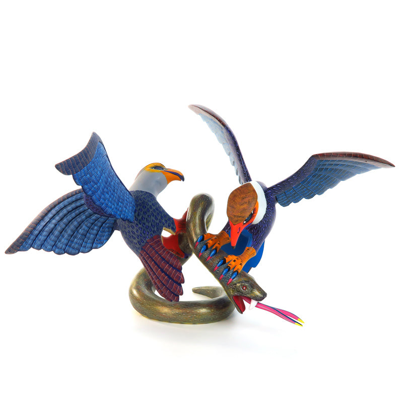 Eagles Vs. Serpent - Oaxacan Alebrije Wood Carving - Damian & Beatriz Morales - VivaMexico.com