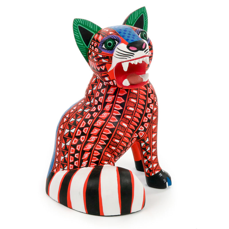 Fierce Jaguar - Oaxacan Alebrije Wood Carving - VivaMexico.com
