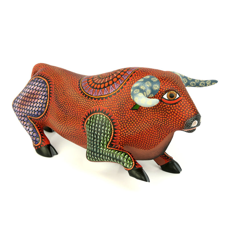 Large Red Bull - Oaxacan Alebrije Wood Carving - VivaMexico.com