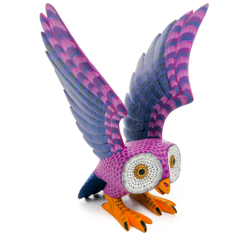 Colorful Owl - Oaxacan Alebrije Wood Carving - VivaMexico.com