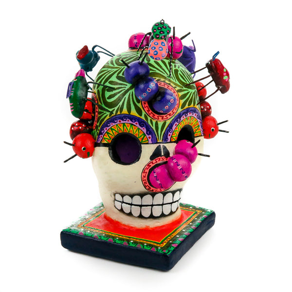 Dia De Los Muertos Clay Folk Art - Skull With Insects - VivaMexico.com