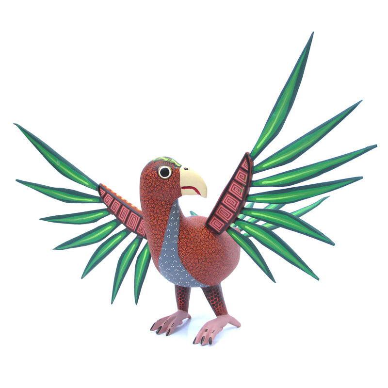 Brown Parakeet - Oaxacan Alebrije Wood Carving - VivaMexico.com