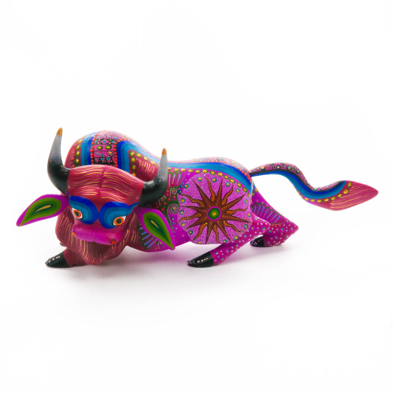 Purple Bull - Oaxacan Alebrije Wood Carving - VivaMexico.com