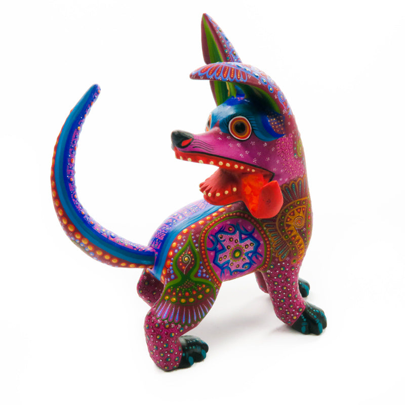 Purple Dog - Oaxacan Alebrije Wood Carving - VivaMexico.com
