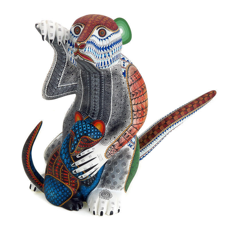 Opossum With Baby - Oaxacan Alebrije Wood Carving - VivaMexico.com