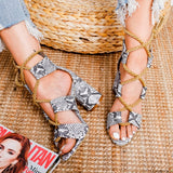 Casual PU Snake-skin Print High Heel Lace Up Sandals