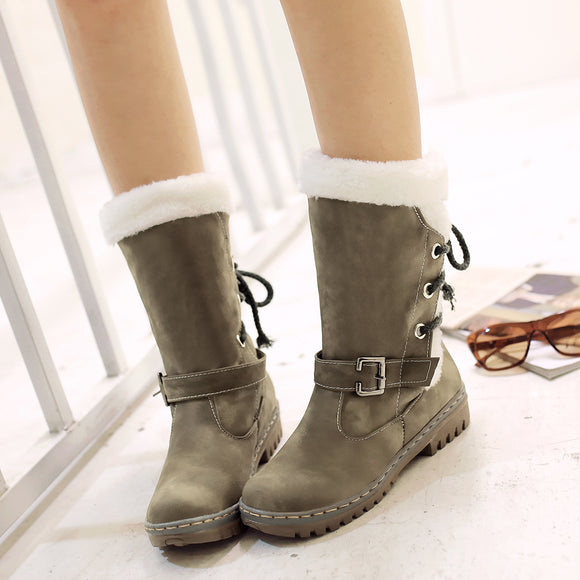 [Hot Sale]Half Leg Woman Fake Wool Lined Thermal Fleece Waterproof Winter Rain Snow Boots