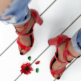 Women Stylish Chunky Heel Sandals Casual Buckle Shoes