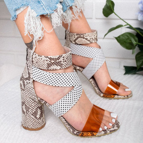 Women Summer Criss-Cross Chunky Heel Zipper Sandals