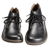 Lace-Up Pu Boots Round Toe Womens Wide Shoes