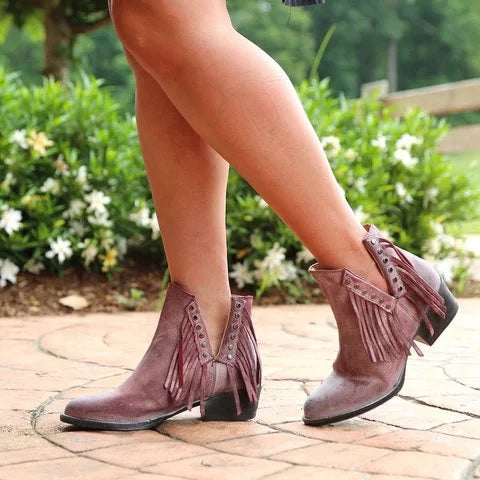 Plus Size Side Cut Tassel Chunky Heel Ankle Boots