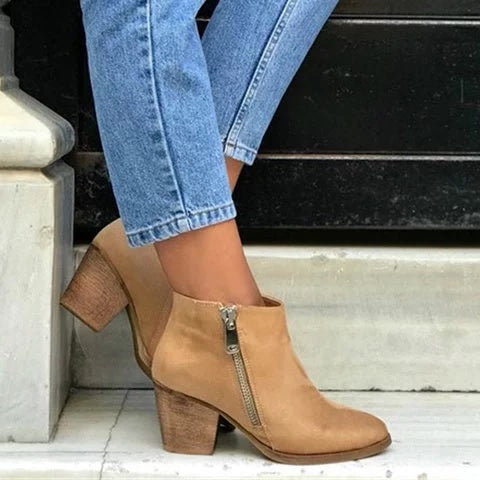 Zipper Faux Suede Boots Ankle Chunky Heel Booties